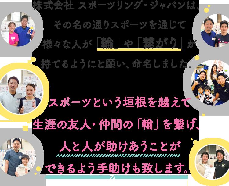 株式会社 スポーツリング・ジャパンは、 その名の通りスポーツを通じて 様々な人が「輪」や「繋がり」が 持てるようにと願い、命名
